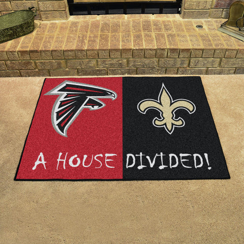 NFL Rivalry Rug Atlanta Falcons / New Orleans Saints House Divided Mat - Bed, Bath, And My Team