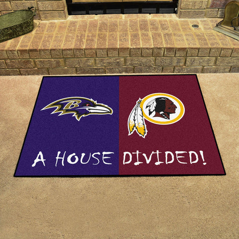 NFL Rivalry Rug Baltimore Ravens / Washington Redskins House Divided Mat - Bed, Bath, And My Team
