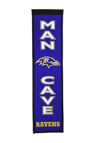 NFL Baltimore Ravens MAN CAVE Hanging Wool Banner - Bed, Bath, And My Team