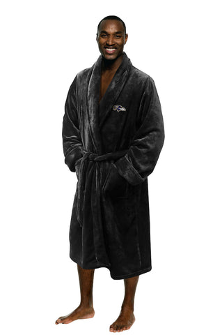 NFL Baltimore Ravens Silk Touch Mens Bath Robe (LG/XL) - Bed, Bath, And My Team