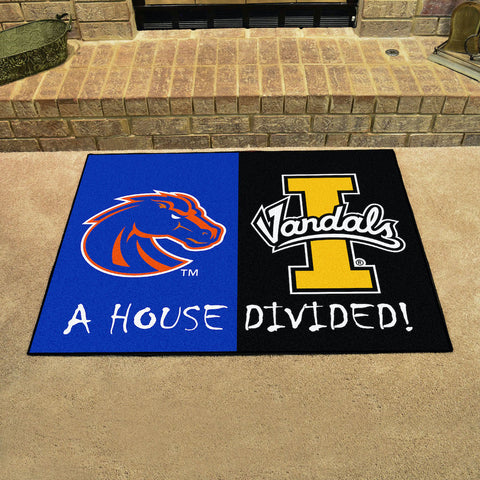 NCAA Rivalry Rug Boise State Broncos / Idaho Vandals House Divided Mat - Bed, Bath, And My Team