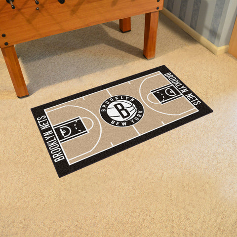 NBA Brooklyn Nets LARGE Basketball Court Carpet Runner Rug - Bed, Bath, And My Team