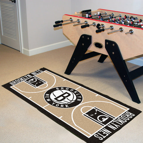 NBA Brooklyn Nets Basketball Court Carpet Runner Rug - Bed, Bath, And My Team