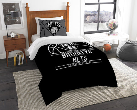 NBA Brooklyn Nets Twin Comforter and Pillow Sham - Bed, Bath, And My Team
