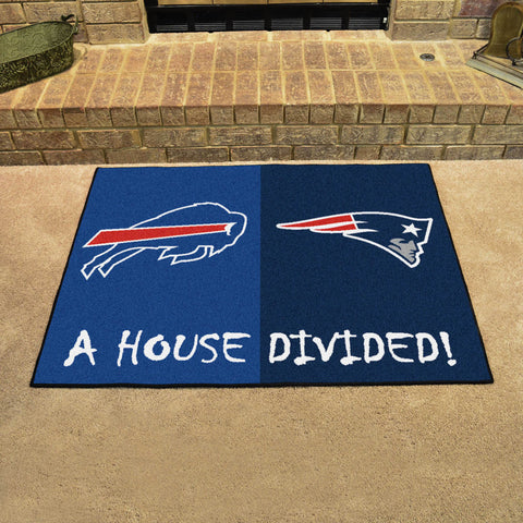 NFL Rivalry Rug Buffalo Bills / New England Patriots House Divided Mat - Bed, Bath, And My Team