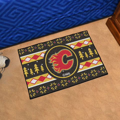 Calgary Flames Holiday Sweater Rug