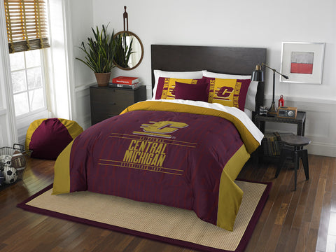 NCAA Central Michigan Chippewas Queen/Full Comforter and Sham Set - Bed, Bath, And My Team