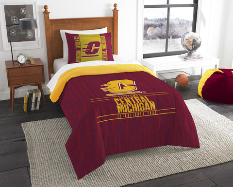 NCAA Central Michigan Chippewas Twin Comforter and Pillow Sham - Bed, Bath, And My Team