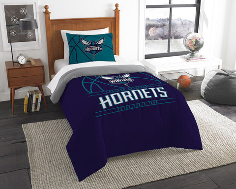 NBA Charlotte Hornets Twin Comforter and Pillow Sham - Bed, Bath, And My Team