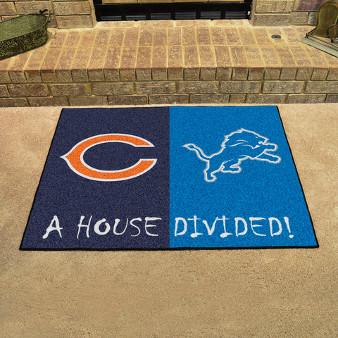 NFL Rivalry Rug Chicago Bears / Detroit Lions House Divided Mat - Bed, Bath, And My Team