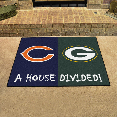 NFL Rivalry Rug Chicago Bears / Green Bay Packers House Divided Mat - Bed, Bath, And My Team
