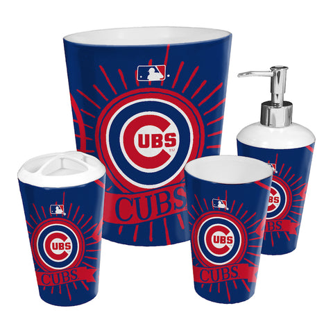 MLB Chicago Cubs 4 Piece Accessory Bathroom Set - Bed, Bath, And My Team