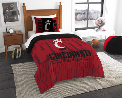 NCAA Cincinnati Bearcats Twin Comforter and Pillow Sham - Bed, Bath, And My Team