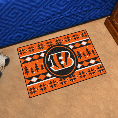 Cincinnati Bengals Holiday Sweater Rug