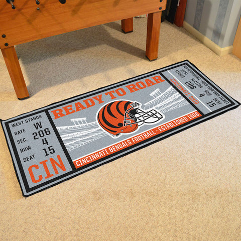 Cincinnati Bengals Football Ticket Carpet Runner Rug