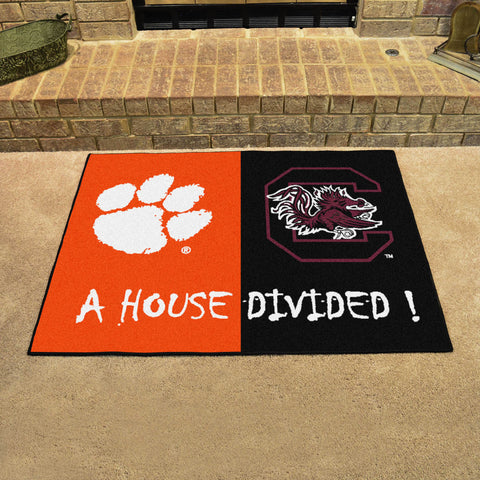 NCAA Rivalry Rug Clemson Tigers / South Carolina Gamecocks House Divided Mat - Bed, Bath, And My Team