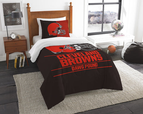 NFL Cleveland Browns Twin Comforter and Pillow Sham - Bed, Bath, And My Team