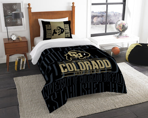 NCAA Colorado Buffaloes Twin Comforter and Pillow Sham - Bed, Bath, And My Team