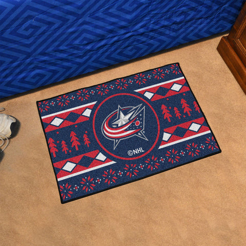 Columbus Blue Jackets Holiday Sweater Rug