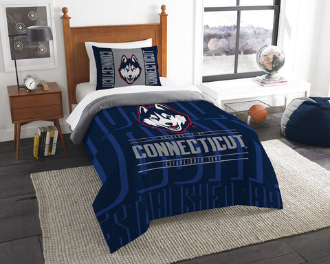 NCAA Connecticut Huskies Twin Comforter and Pillow Sham - Bed, Bath, And My Team