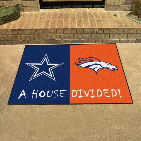 NFL Rivalry Rug Dallas Cowboys / Denver Broncos House Divided Mat - Bed, Bath, And My Team