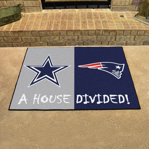 NFL Rivalry Rug Dallas Cowboys / New England Patriots House Divided Mat - Bed, Bath, And My Team