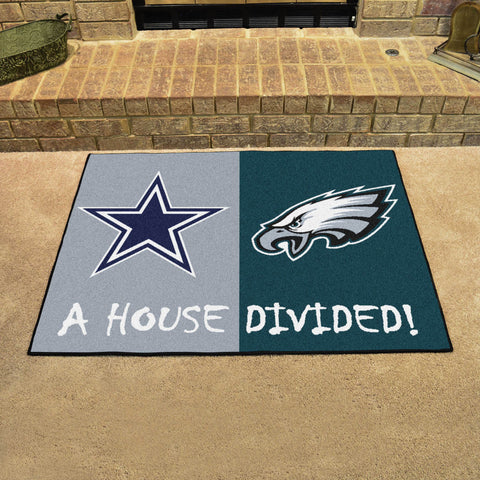 NFL Rivalry Rug Dallas Cowboys / Philadelphia Eagles House Divided Mat - Bed, Bath, And My Team