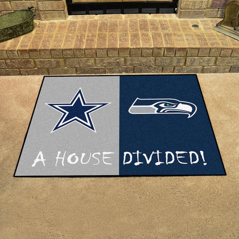 NFL Rivalry Rug Dallas Cowboys / Seattle Seahawks House Divided Mat - Bed, Bath, And My Team