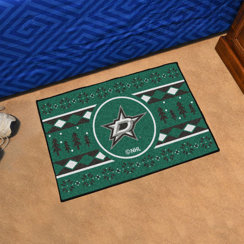 Dallas Stars Holiday Sweater Rug