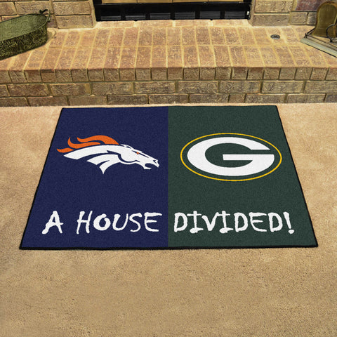 NFL Rivalry Rug Denver Broncos / Green Bay Packers House Divided Mat - Bed, Bath, And My Team