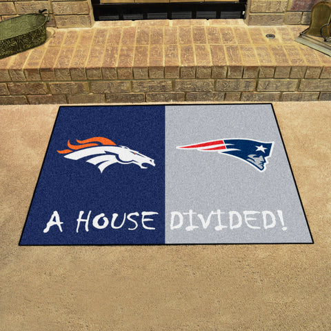 NFL Rivalry Rug Denver Broncos / New England Patriots House Divided Mat - Bed, Bath, And My Team