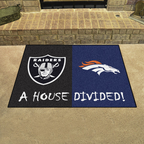 NFL Rivalry Rug Denver Broncos / Las Vegas Raiders House Divided Mat - Bed, Bath, And My Team