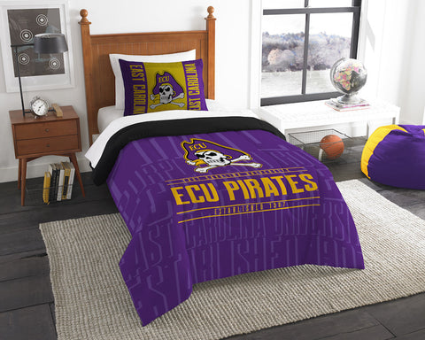 NCAA East Carolina Pirates Twin Comforter and Pillow Sham - Bed, Bath, And My Team