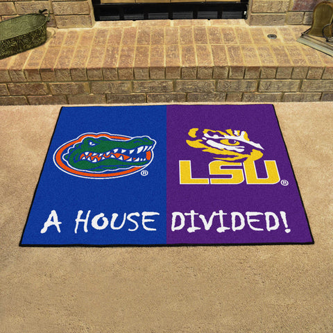 NCAA Rivalry Rug Florida Gators / LSU Tigers House Divided Mat - Bed, Bath, And My Team