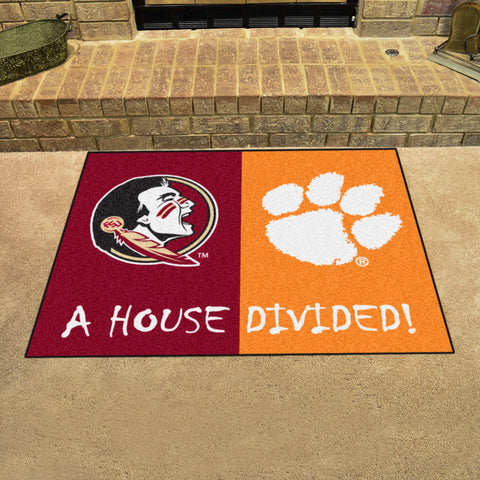 NCAA Rivalry Rug Florida State Seminoles / Clemson Tigers House Divided Mat - Bed, Bath, And My Team
