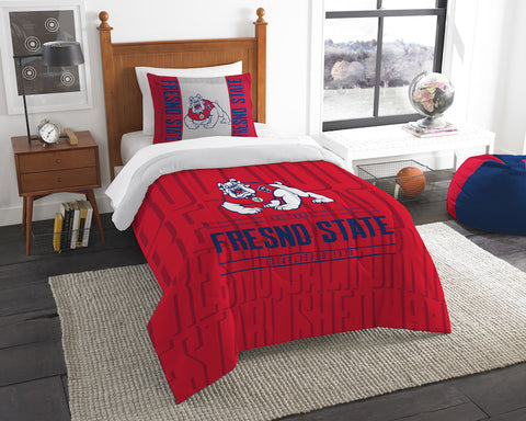 NCAA Fresno State Bulldogs Twin Comforter and Pillow Sham - Bed, Bath, And My Team