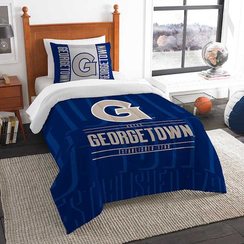 NCAA Georgetown Hoyas Twin Comforter and Pillow Sham - Bed, Bath, And My Team