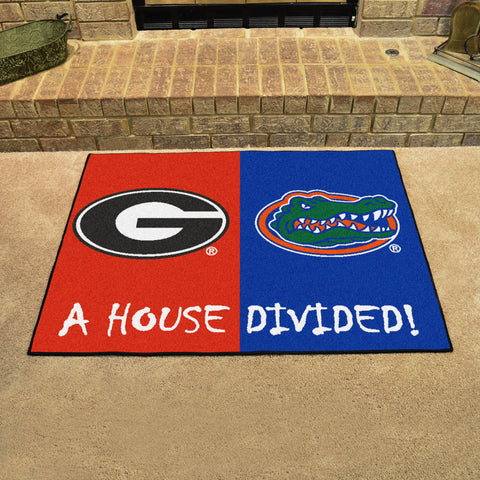 NCAA Rivalry Rug Georgia Bulldogs / Florida Gators House Divided Mat - Bed, Bath, And My Team