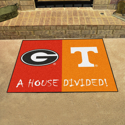 NCAA Rivalry Rug Georgia Bulldogs / Tennessee Volunteers House Divided Mat - Bed, Bath, And My Team
