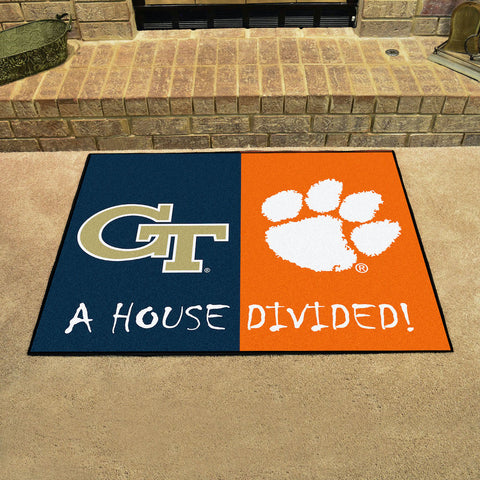 NCAA Rivalry Rug Georgia Tech Yellow Jackets / Clemson Tigers House Divided Mat - Bed, Bath, And My Team