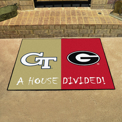 NCAA Rivalry Rug Georgia Tech Yellow Jackets / Georgia Bulldogs House Divided Mat - Bed, Bath, And My Team