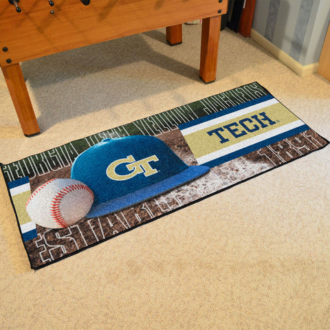 NCAA Georgia Tech Yellow Jackets Baseball Logo Carpet Runner Rug - Bed, Bath, And My Team