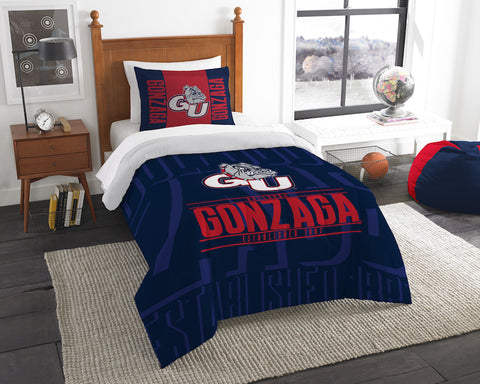 NCAA Gonzaga Bulldogs Twin Comforter and Pillow Sham - Bed, Bath, And My Team