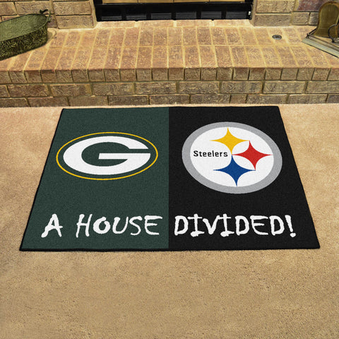 NFL Rivalry Rug Green Bay Packers / Pittsburgh Steelers House Divided Mat - Bed, Bath, And My Team