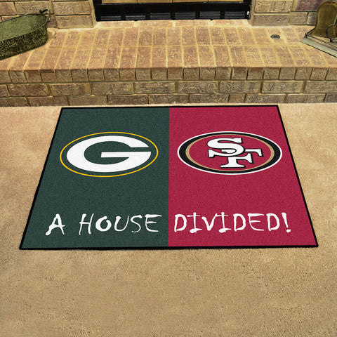 NFL Rivalry Rug Green Bay Packers / San Francisco 49ers House Divided Mat - Bed, Bath, And My Team