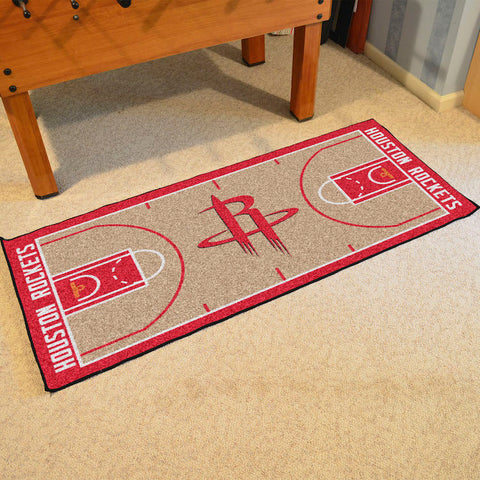 NBA Houston Rockets Basketball Court Carpet Runner Rug - Bed, Bath, And My Team