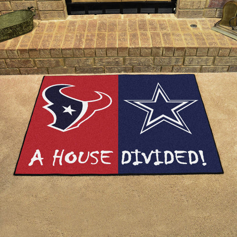 NFL Rivalry Rug Houston Texans / Dallas Cowboys House Divided Mat - Bed, Bath, And My Team