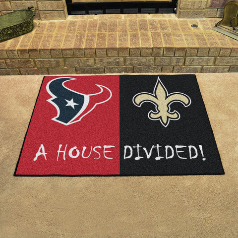 NFL Rivalry Rug Houston Texans / New Orleans Saints House Divided Mat - Bed, Bath, And My Team