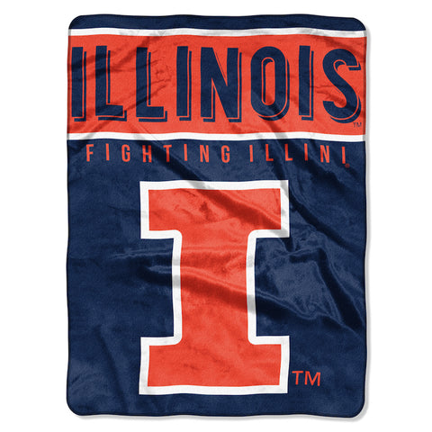 NCAA Illinois Fighting Illini 60 x 80 Large Plush Raschel Throw Blanket - Bed, Bath, And My Team