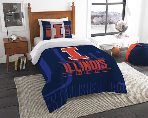 NCAA Illinois Fighting Illini Twin Comforter and Pillow Sham - Bed, Bath, And My Team